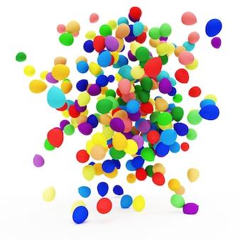 Sterta wielobarwnych balonów na białym tle w renderowaniu 3d