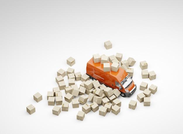 Sterty pudeł i czerwony samochód dostawczy. białe tło.