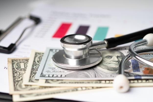 Stetoskop i banknoty w dolarach amerykańskich na papierze milimetrowym.