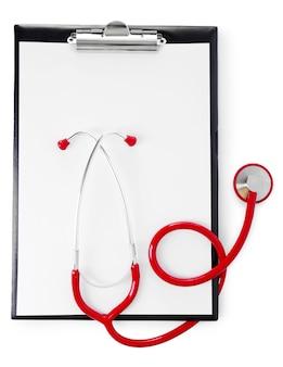 Stetoskop medyczny ze schowkiem na białym tle