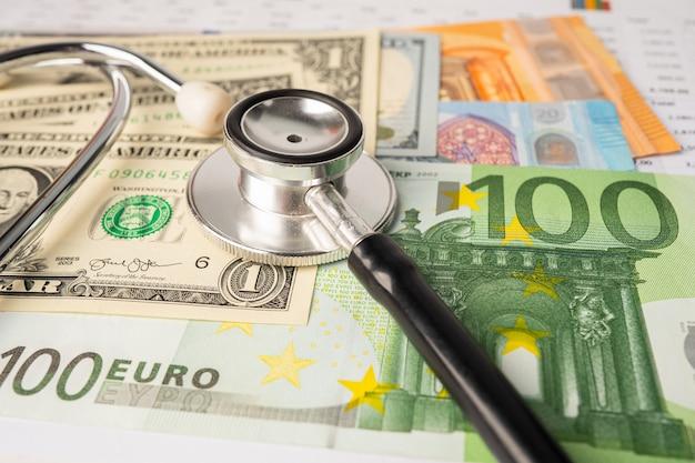 Stetoskop na banknotach dolar amerykański i euro.