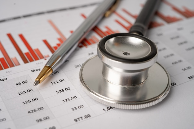Stetoskop na wykresach i wykresach na papierze