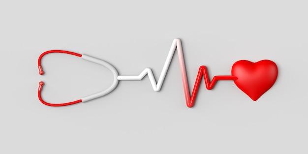 Stetoskop oznaczający tętno serca. skopiuj miejsce. ilustracja 3d.