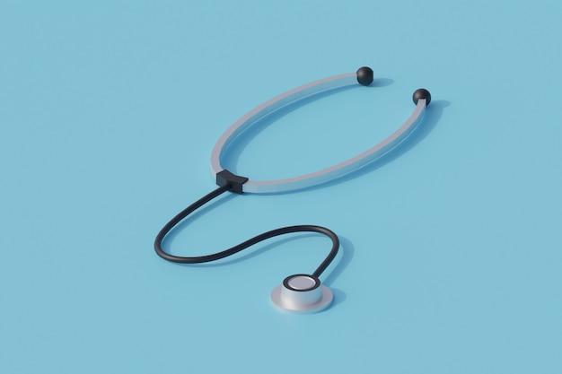 Stetoskop pojedynczy izolowany obiekt. 3d render ilustracji izometryczny