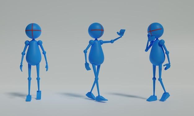 Stickman aktywność 3d ilustracja projekt