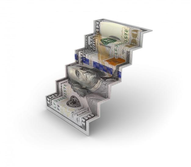 Sto banknotów dolarowych schody