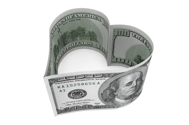 Sto dolarów rachunek jako serce na białym tle