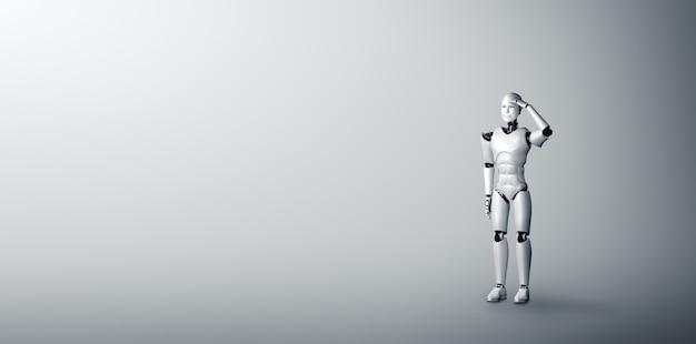 Stojący humanoidalny robot patrzy w przyszłość