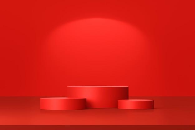 Stojak na czerwone tło produktu lub cokół podium na pustym wyświetlaczu z pustymi tłem.