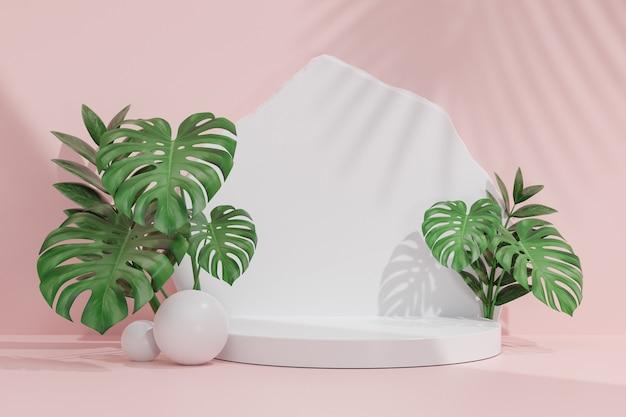 Stojak na kosmetyki, biały cylinder podium z białym kamieniem i ścianą z liści monstera na różowym tle. ilustracja renderowania 3d