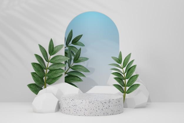 Stojak na kosmetyki, biały marmurowy cylinder i biała kamienna ściana łukowa z zielonym tłem liści. ilustracja renderowania 3d