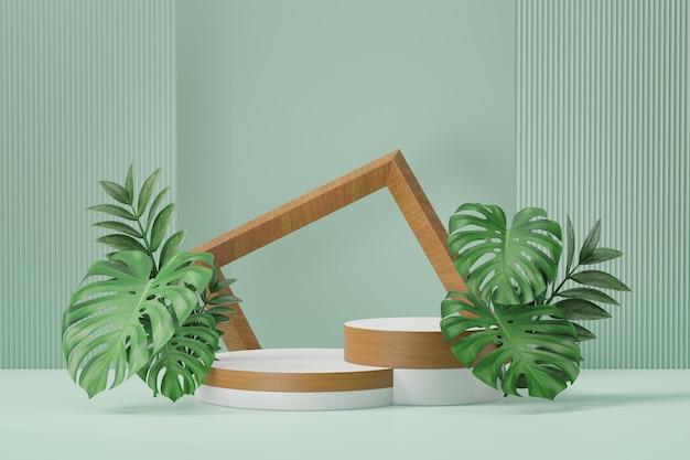 Stojak na kosmetyki, dwa drewniane białe podium w kształcie cylindra z drewnianą ramą i zielonym liściem roślin na zielonym tle. ilustracja renderowania 3d