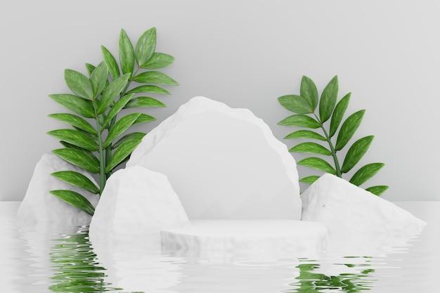 Stojak na kosmetyki, podium z białego kamienia z tłem odbicia liści i wody. ilustracja renderowania 3d