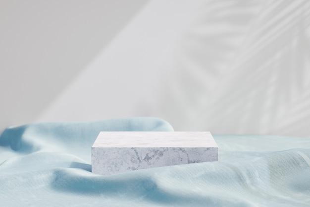 Stojak na kosmetyki, podium z białego marmuru z niebieską tkaniną na jasnym tle. ilustracja renderowania 3d