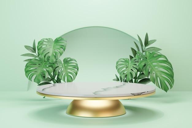 Stojak na kosmetyki, podium z białego marmuru z okrągłym cylindrem i złoto z zielonym tłem liści. ilustracja renderowania 3d