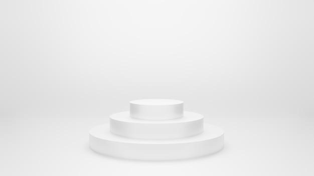 Stojak na podium 3 warstwy z szarym tłem. 3d ilustracji