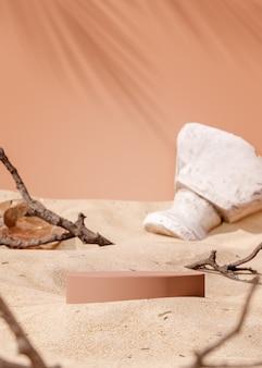 Stojak na podium na beżowym tle piasku do renderowania 3d lokowania produktu