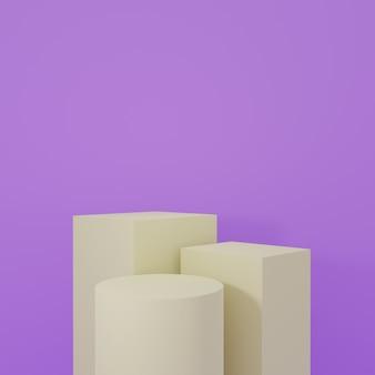 Stojak na produkt w fioletowym pokoju scena studyjna dla produktu minimalny projektrenderowanie 3d