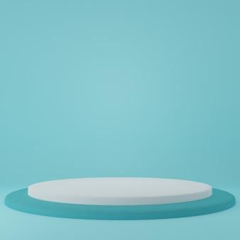 Stojak na produkt w niebieskim pokoju scena studyjna dla produktu minimalny projektrenderowanie 3d