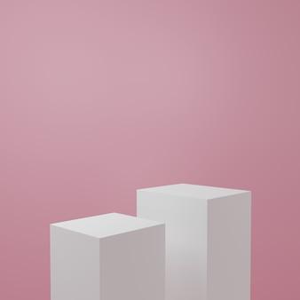 Stojak na produkt w różowym pokoju scena studyjna dla produktu minimalny projektrenderowanie 3d