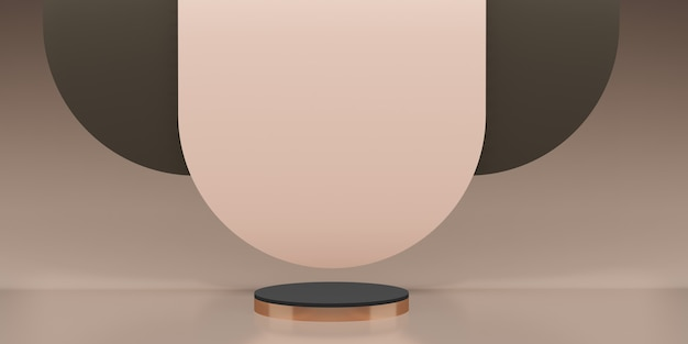 Stojak na produkt w stylu klasycznym scena retro różowe złoto ilustracja 3d