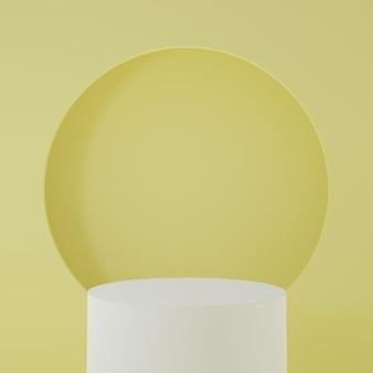 Stojak na produkt w żółtym pokoju scena studyjna dla produktu minimalny projektrenderowanie 3d