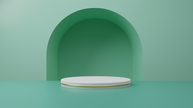 Stojak na produkt z białego złota na pastelowym zielonym tle mięty. koncepcja streszczenie minimalnej geometrii. studio podium