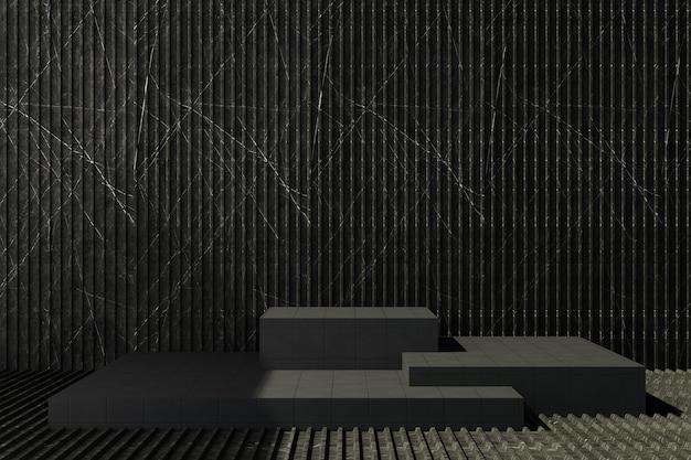 Stojak na produkt z czarnymi kafelkami z ciemnym marmurowym tłem