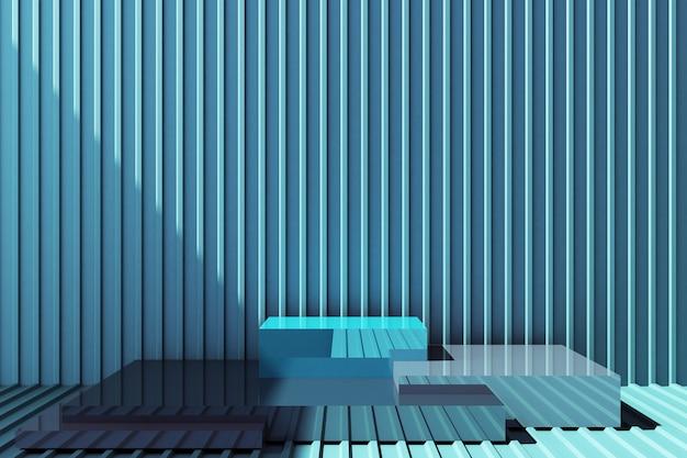 Stojak na produkt z niebieską ścianą z blachy