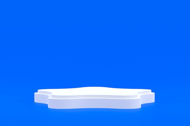Stojak na produkty, podium minimalne na niebieskim tle do prezentacji produktów kosmetycznych.