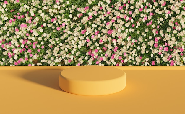 Stojak na produkty z biało-fioletową ścianą kwiatową i ciepłą powierzchnią. renderowanie 3d