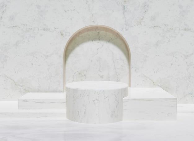 Stojak na produkty z marmuru z centralnym cylindrem i kwadratowymi podstawami po bokach i łukiem z tyłu. renderowanie 3d