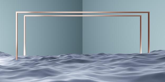 Stojak na wodę z kwadratową ramą scena studyjna do prezentacji produktów lub wiadomości ilustracja 3d