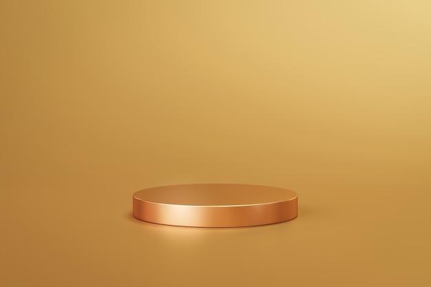 Stojak na złoty produkt lub cokół na podium na złotym wyświetlaczu z luksusowymi tłem. renderowanie 3d.