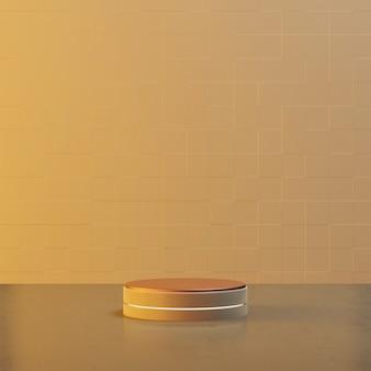 Stojak okrągły w kolorze żółtym z cementową podłogą