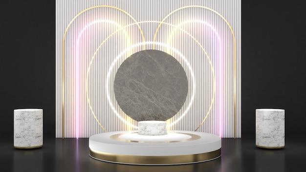 Stojak z białego koła na białej tylnej klapie w neonowej złotej ramce na podium