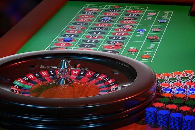 Stół do ruletki w kasynie. selektywna ostrość.