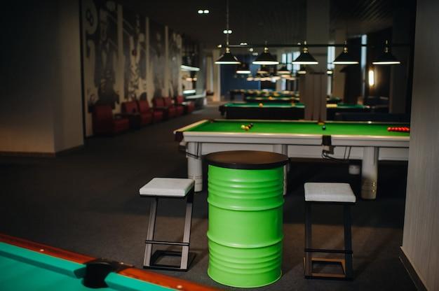 Stół i dwa krzesła przy pokrytym zielenią stole bilardowym z piłeczkami w klubie bilardowym.