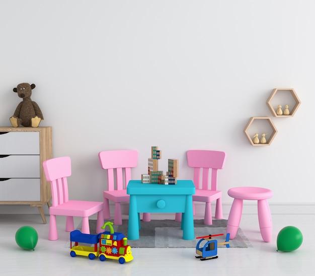 Stół i krzesło w białym pokoju dziecięcym dla makiety