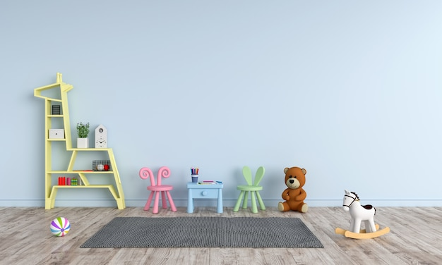 Stół i krzesło w niebieskim pokoju dziecka dla makiety