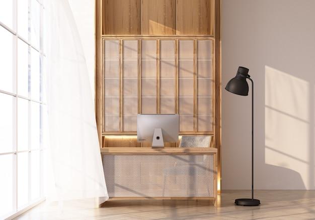 Stół roboczy i szafka na drewnianej podłodze przez okno wpada światło i padają na nie cienie. z białą ścianą i czystym renderowaniem 3d