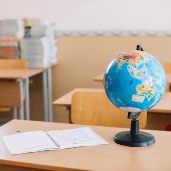 Stół szkolny z globu długopis