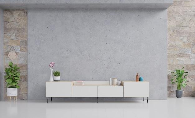 Stół tv z cementową ścianą ekranową na ścianie w nowoczesnym salonie.