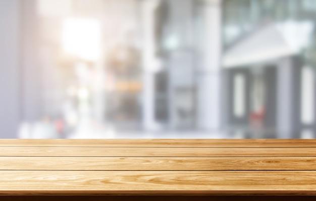 Stół w nowoczesnym mieście biurowym z pustym miejscem na kopię na stole do makiety wyświetlania produktów.