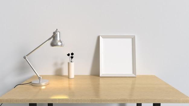 Stół z drewna w białym pokoju i pusta rama srebrna lampa renderowania wnętrz 3d