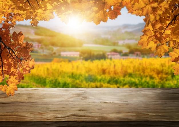 Stół z drewna w jesień krajobraz winnicy kraju.