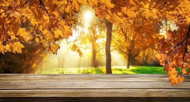 Stół z drewna w jesiennym krajobrazie z pustą przestrzenią do wyświetlania makiety produktów.
