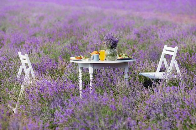 Stół z jedzeniem i dwoma krzesłami w lawendowym polu