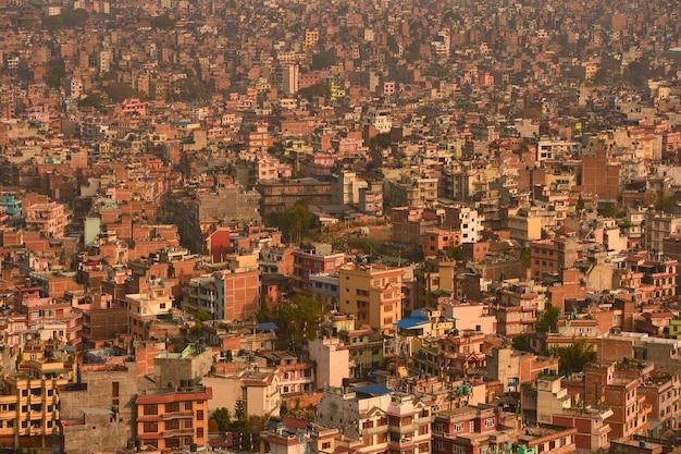 Stolica katmandu podczas zachodu słońca, nepal