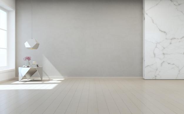 Stolik na drewnianej podłodze z białym marmurem i szarą betonową ścianą w dużym pokoju w nowoczesnym nowym domu.